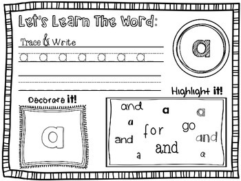 RTI: Sight Word Worksheets