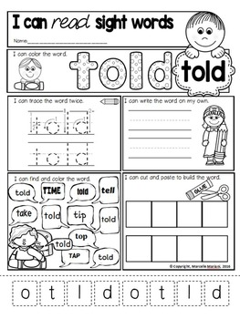 Sight Word Worksheets- 33 Sight Word Worksheets