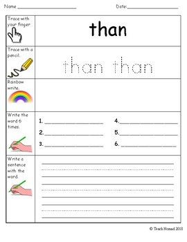 Sight Word Worksheets - 100 Word List