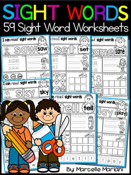 Sight Words Practice Worksheets- 59 Sight Word Practice Worksheets