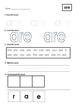 Sight Word Worksheets Bundle 2 (Dr. Fry Word List)