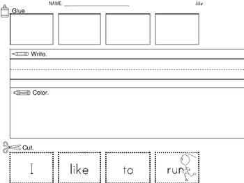 Sight Word Worksheets: Cut & Paste Sentences SET 2