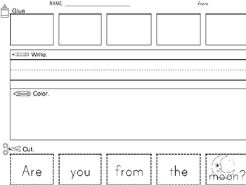 Sight Word Worksheets: Cut and Paste SET 4