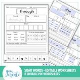 Sight Word Worksheets - Editable PDF • 2 thru 9 letter Words
