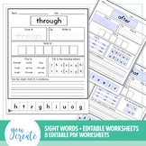 Sightword Worksheets - Editable PDF • 2 thru 9 letter Words