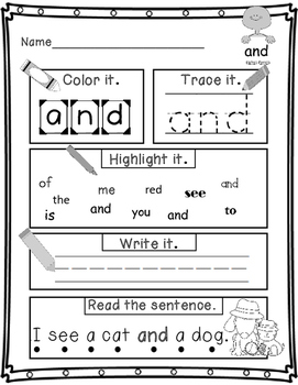 Sight-Word Practice Pages FREEBIE