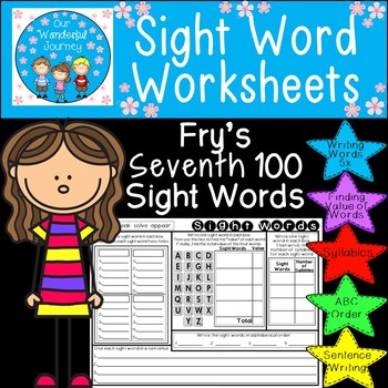 Sight Word Worksheets     Fry's Seventh 100 Sight Words
