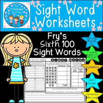 Sight Word Worksheets     Fry's Sixth 100 Sight Words