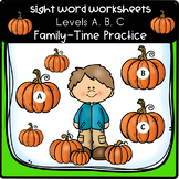 Sight Word Worksheets -  Level A, B, C