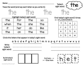 Sight word worksheets no prep frys first 100 words by mrsjennyp sight word worksheets no prep frys first 100 words ibookread PDF