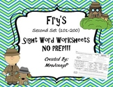 Sight Word Worksheets NO PREP: Fry's second 100 words (words 101-200)