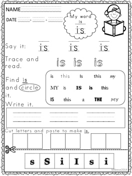 SPECIAL EDUCATION *Sight Word Worksheets and flash cards ...