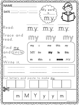 SPECIAL EDUCATION *Sight Word Worksheets and flash cards by Superteach56