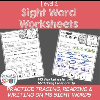 SPECIAL EDUCATION*Sight Word Worksheets  Level 2