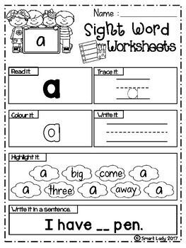 Sight Word Worksheets (Pre-Primer)