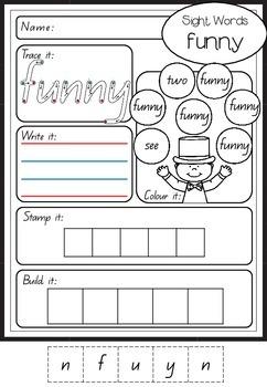Sight Word Worksheets - Pre Primer Edition