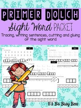 Sight Word Worksheets Primer Dolch Set