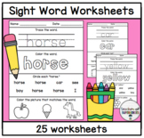 Sight Word Worksheets (Words 1-25 from Edmark Level 1 Word List)