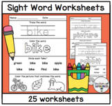 Sight Word Worksheets (Words 101-125 from Edmark Level 1 Word List)