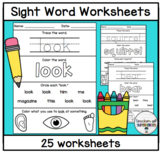 Sight Word Worksheets (Words 126-150 from Edmark Level 1 Word List)
