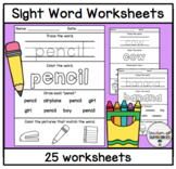 Sight Word Worksheets (Words 26-50 from the Edmark Level 1 Word List)
