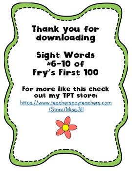 Sight Word Worksheet Pack: Words 6-10