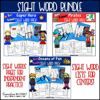 Sight Word Worksheets and Center Activities The Bundle