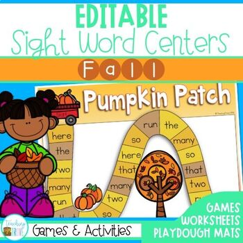 Editable Sight Word Centers for Fall