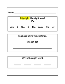 Sight Word Worksheets for Transitional Kindergarten