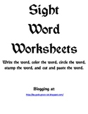 Sight Word Worksheets for various Dolch words