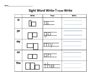 Sight Word Write-Trace-Write