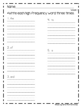 Sight Word - Write the word 3 times each