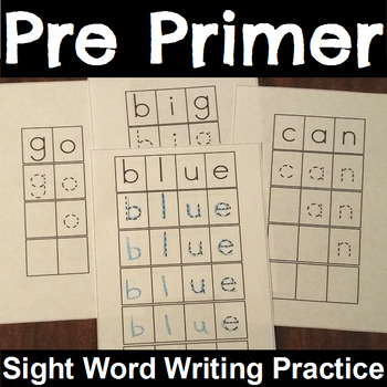 Sight Word Writing Card Center PrePrimer