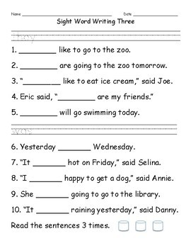 Sight Word Writing Pack 1