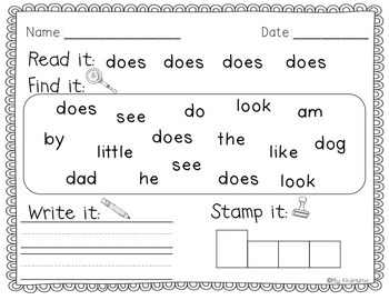 Sight Word Writing Practice Four