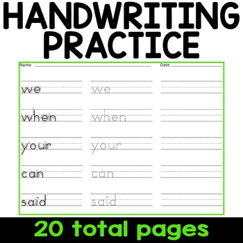 Sight Word Writing Practice - Fry's First Hundred {Click File, Print}