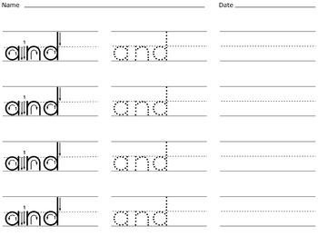 Sight Word Writing Practice - Fry's First Hundred List 1 {Click File, Print}
