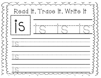 """Sight Word Writing Practice: """"Is"""""""