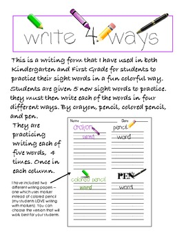 sight word writing practice k 1 by easy peasy primary resources tpt. Black Bedroom Furniture Sets. Home Design Ideas