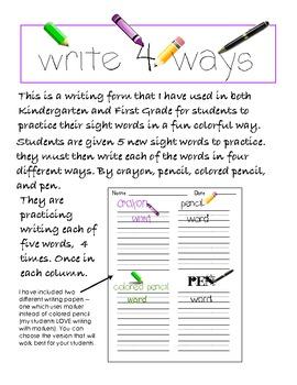 Sight Word Writing Practice K-1