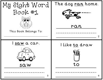 Sight Word Writing Practice Mini-Book Reader