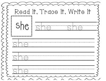Sight Word Writing Practice: She