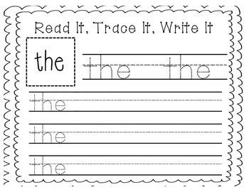 "Sight Word Writing Practice: ""The"""