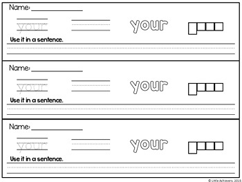 Sight Words  Worksheets - Writing Strips