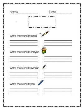 Sight Word Writing Template