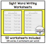 Sight Word Writing Worksheets (Words 1-25 from Edmark Level 1 Word List)