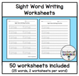 Sight Word Writing Worksheets (Words 1-25 from Edmark Level 2 Word List)