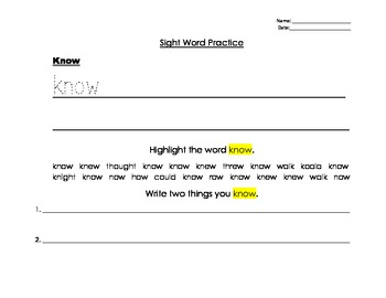 Sight Word Writing and Activities: Dolch First Grade Sight Words