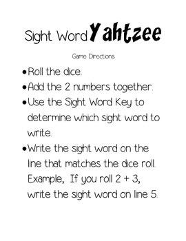 Sight Word Yahtzee