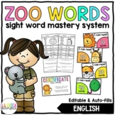 Sight Word Zoo (Editable)